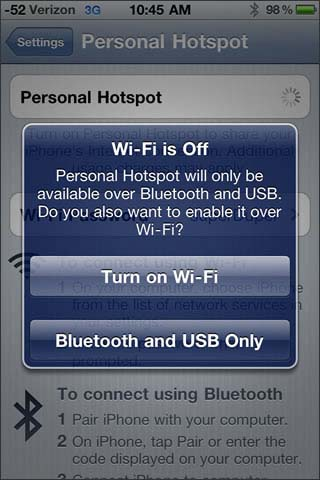 Select Wifi or Bluetooth and USB only