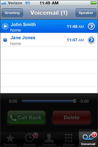 Select Voicemail then Greeting