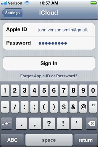 Enter apple id and password then sign in