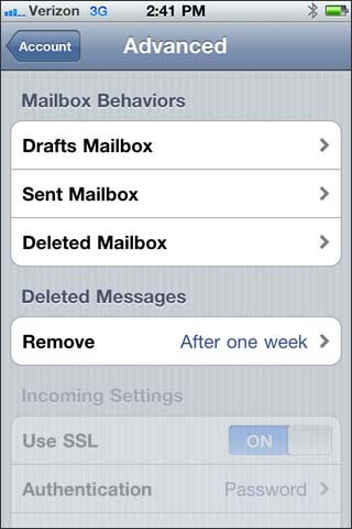 verify mailbox behaviors