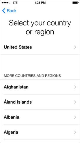 Select country or region