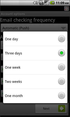 Amount to synchronize settings