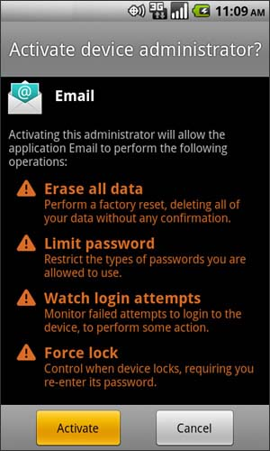 Activate device administrator screen with Activate