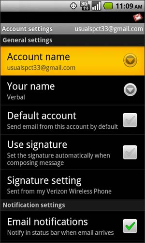 Account settings with Account name