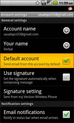Account settings with Default account