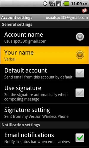 Account settings with Your name
