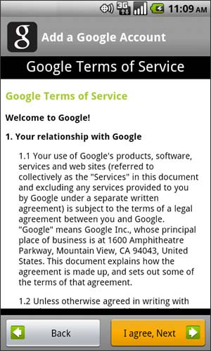 Google Terms of Service screen with I agree, Next
