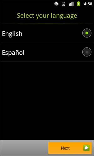 Language Selection screen with Next