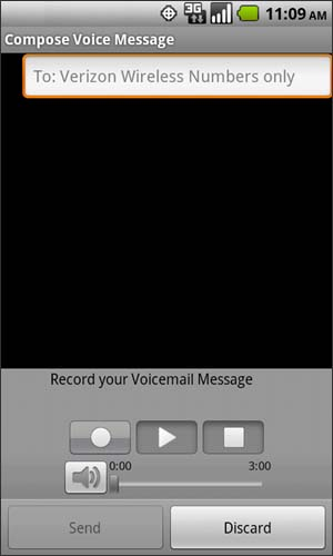 Compose Voice Message with recipient