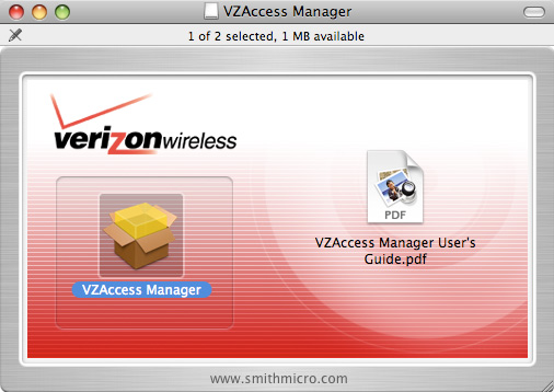 Installer package screen with focus on VZAccess Manager package
