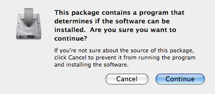 Software install warning message with focus on continue