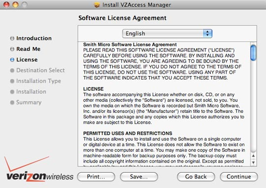 License agreement screen with focus on continue
