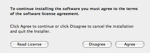 License agreement confirmation screen with focus on agree