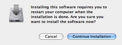Restart Warning screen with focus on continue installation