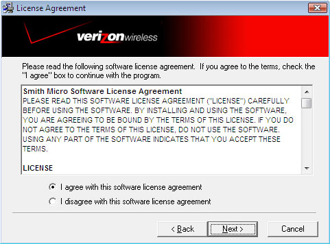 Software license agreement screen