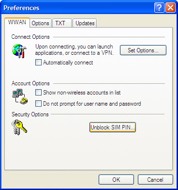 Preferences window with Unblock SIM PIN selected