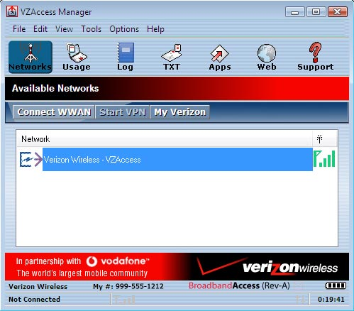 Vzaccess manager main screen