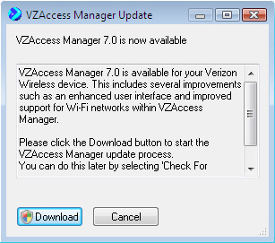 Vzaccess manager update screen