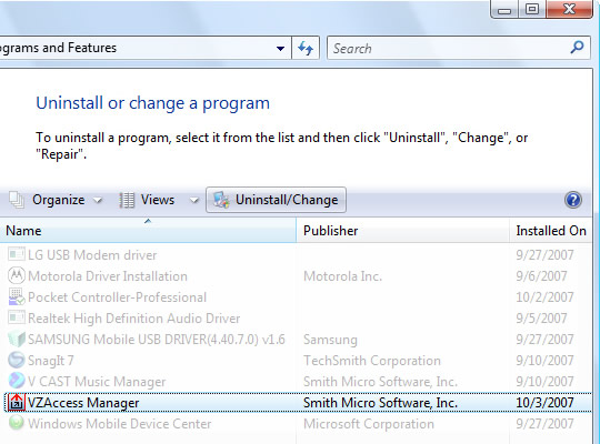 Uninstall or change a program with VZAccess Manager highlighted