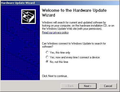 Hardware Update Wizard with focus on selecting No, not at this time