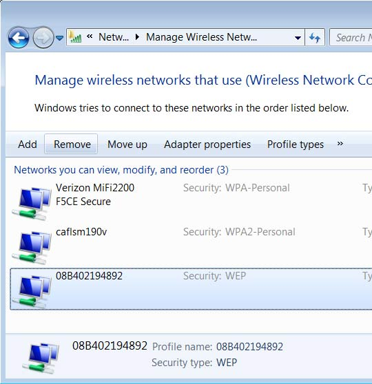 Manage wireless network screen