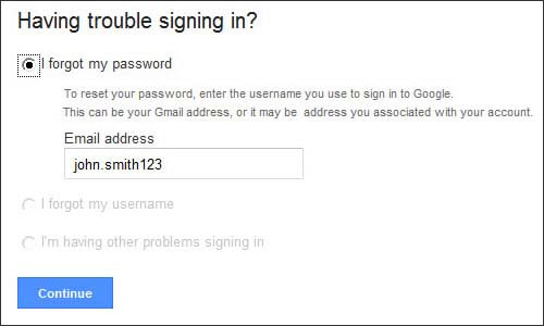 Enter gmail account information then Continue