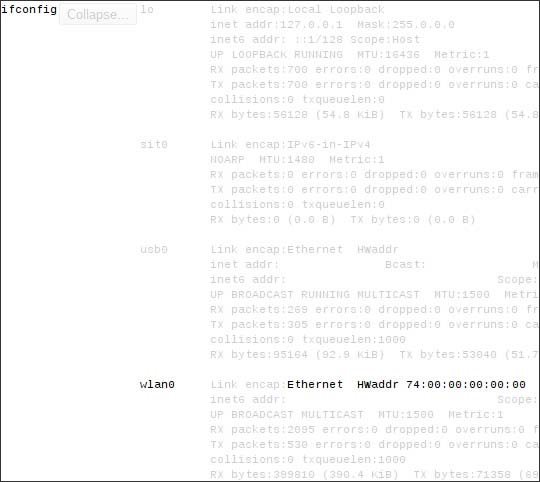 ifconfig wlan0 section with Ethernet HWAddr
