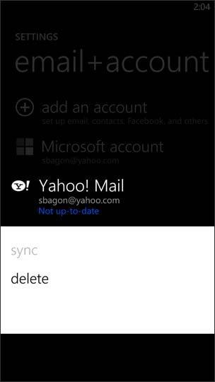 Select to Delete Email Account