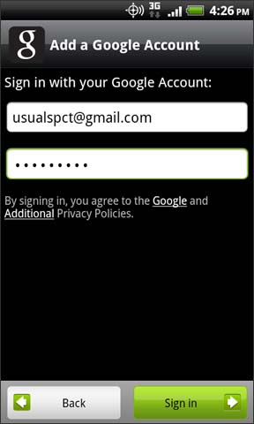 Google Account login screen with Sign in