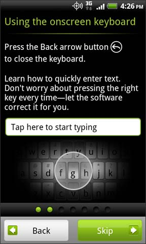 Using the onscreen keyboard overview with Skip