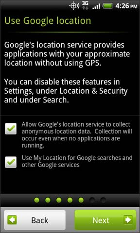 Google location settings with Next