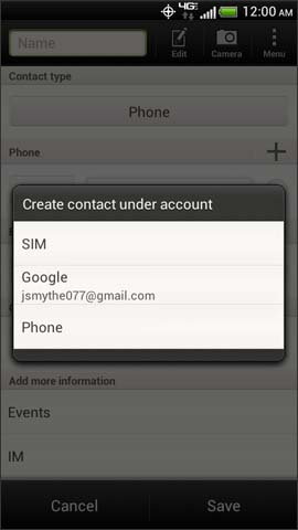Create contacts under account screen options