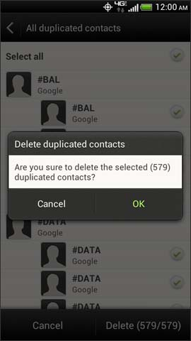 Delete duplicated contacts confirmation screen
