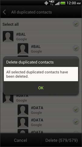 Contacts deletion confirmation screen