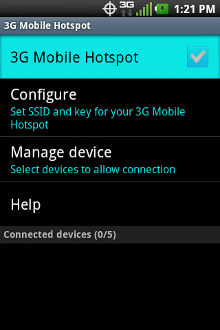 3G Mobile Hotspot settings with 3G Mobile Hotspot