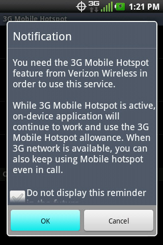 3G Mobile Hotspot feature notification with OK