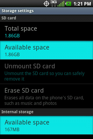 Storage settings with Available space
