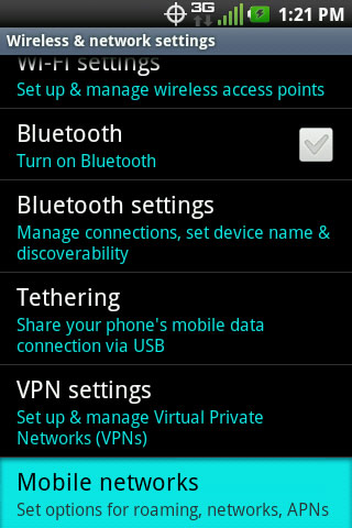Wireless & networks settings with Mobile networks