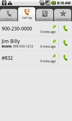 Touch the Call log tab to display call history