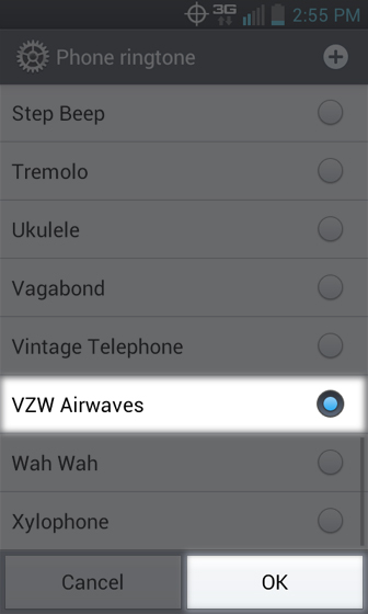 Phone ringtone select from available options