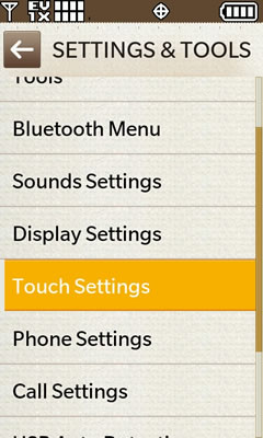 Touch Settings