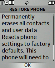 Restore Phone Warning screen