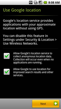 Google location options