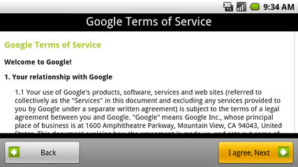 Review Googles terms of service