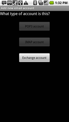 Select Exchange account