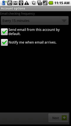 send email from the account and notify when email arrives