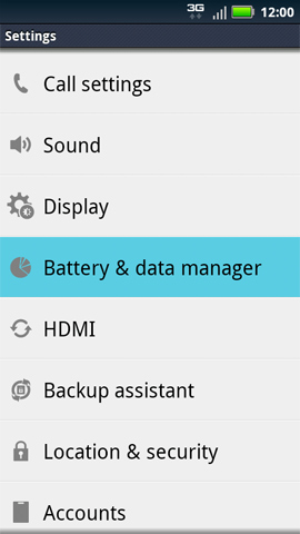 Settings with Battery & data manager