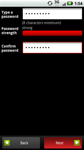 Password screen with Next