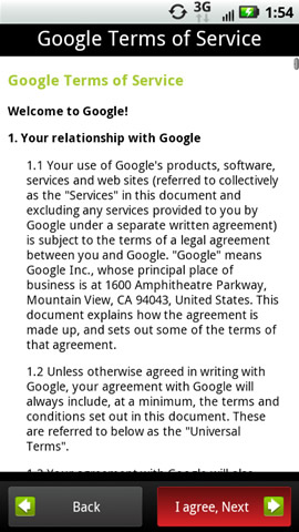 Google Terms of Service with I agree, Next