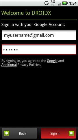 Google account sign in screen with Sign in